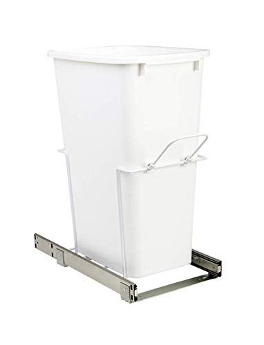 (Knape & Vogt 11.375 in. x 20.125 in. x 22.875 in. 50 Qt. in-Cabinet Single Soft-Close Bottom-Mount Pull-Out Trash Can - White, )