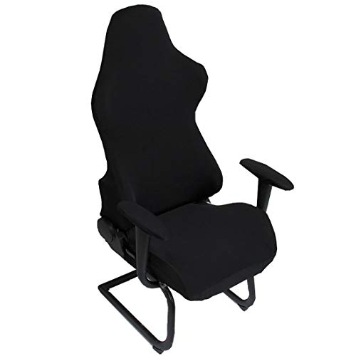 Reclining Racing Cloth Seat - Deisy Dee Slipcovers Cloth Stretch Polyester Chair Cover for Reclining Racing Gaming Chair (Only Chair Covers) (Black)