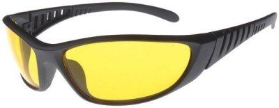 Gansta Wrap Around Night Vision Unisex Sunglasses (SM-408-BLK-YEL Yellow)