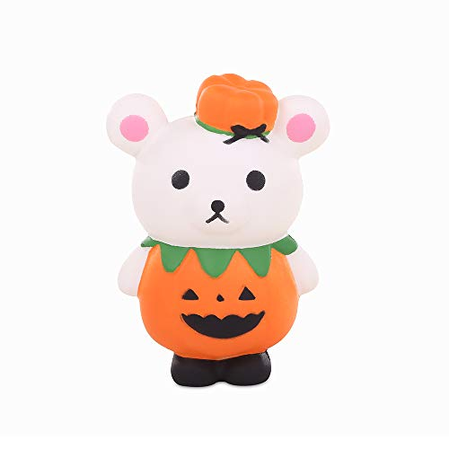 Anboor 5.1 Inches Squishies Pumpkin Bear Kawaii Slow Rising Scented Squishies Stress Relief Kid Toys Halloween Decorative Props Gift -