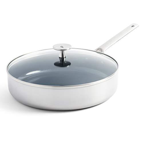 Blue Diamond Cookware Triple Steel Ceramic Nonstick Stainless Steel Sauté Pan with Lid, 3.75QT