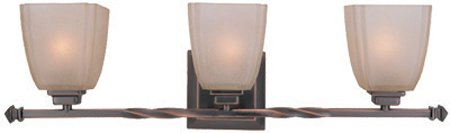 (Lite Source LS-16289CP/BRZ Nita 3-Lite Wall Lamp, Copper Bronze with Woven Pattern Glass Shade)