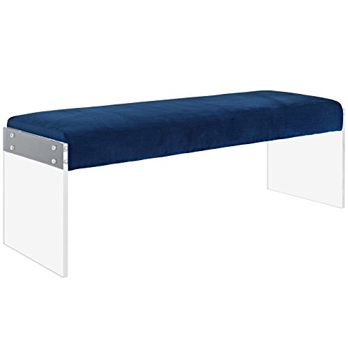 - Modway Roam Modern Upholstered Bench With Acrylic Base In Navy Velvet
