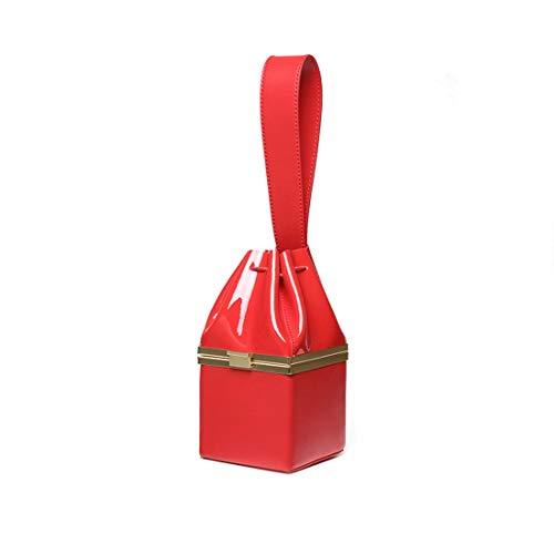 Wine Pequeño De Red Bolso Cuadrado Noche Mujer Dorado color Cuero Magai Patente Oro Red ART4qP