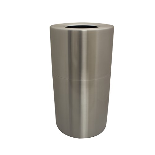 Witt Industries AL18-CLR Aluminum 24-Gallon Decorative Trash  Can with Rigid Plastic Liner, Round, 15'' Diameter x 30-1/2'' Height, Clear Coat by Witt Industries