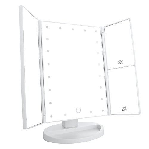 Leju Led Lighted Vanity Mirror  Make Up Tri Fold With 3X 2X 1X Magnification Touch Screen With 21Pcs Lights Two Power Supply Mode Makeup Mirror  White