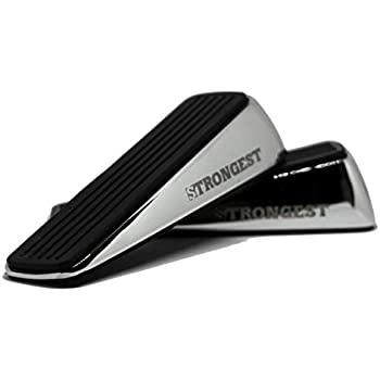 Strongest Door Stopper, Heavy Duty Door Stop Wedge Made of Premium Quality Zinc and Rubber Suits Any Door,Any Floor. Set of 2 Plus Bonus Self Adhesive Wall Protectors (Black Silver)