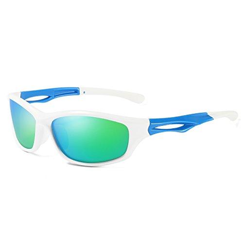 Laura Fairy Polarized Sports Sunglasses TR90 Silver Unisex Running Cycling Fishing (white blue - Sport Sunglasses White