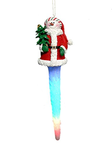 - Hofert LED Lighted Snowman in Santa Hat Icicle Christmas Ornament