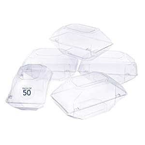 Royal Imports 50 Pack Clear Plastic Flower Box for Corsage, Boutonniere, Rose, Orchid Prom Wedding Craft Container 9x5x4 43