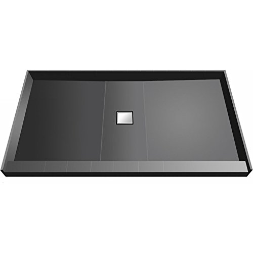 Redi Base Trench Shower Pan with Center Drain - Single Curb, Tileable Grate, 2-Inch PVC Drain and Plate Included, 48