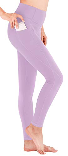 Heathyoga Yoga Pants High Waist Leggings for Workout Running & Yoga, Super Soft and Non See-Through Fabric (H7521 Light Purple, Medium)