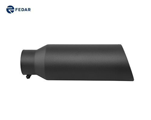 Fedar 4'' Inlet 6'' Outlet 18'' Long Rolled End Angle Cut Exhaust Tailpipe Tip (End Inlet Rolled 4')