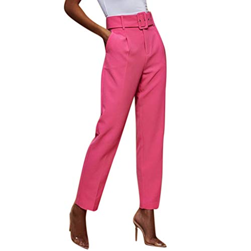 Botrong Pants for Women, Solid High Waisted Loose Pencil Pants Stretch Long Trousers with Pockets Hot Pink