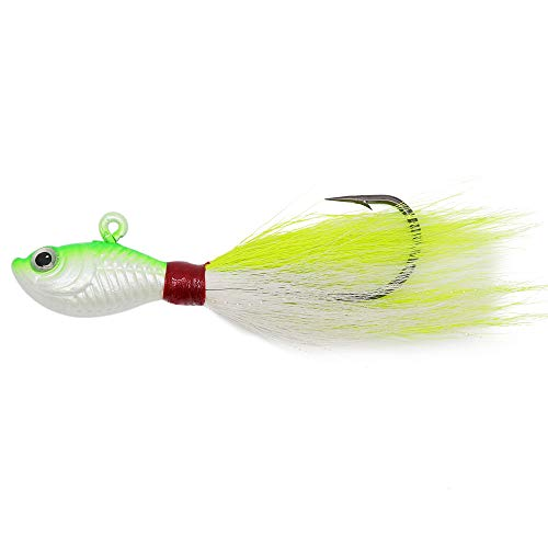 (Alwonder Bucktail Jig Saltwater Freshwater Fishing Baits Fluke Lure Striper Bluefish Bass Flounder Green & White 2 oz)
