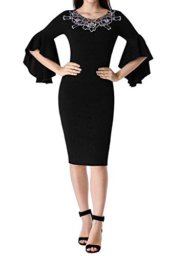 VFSHOW Womens Little Black V Neck Floral Applique Ruffle Bell Sleeve Cocktail Party Bodycon Sheath Dress 2803 BLK XL