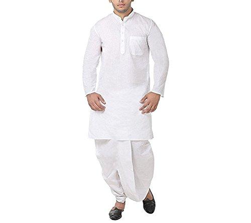 Kurta Dhoti (FOCIL White Cotton Dhoti Kurta Set For Mens)