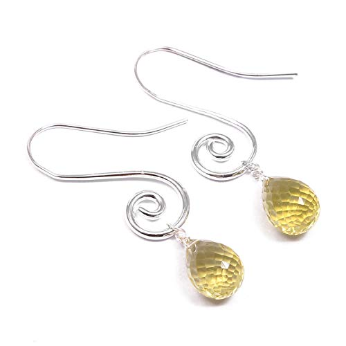 - ❤️❤️ Natural Lemon Quartz ️Dangle Drop Earrings ❤️❤️   925 Sterling Silver   Handcrafted Designer Stylish Charm Fashion Jewelry   Gift for Women, Ladies and Girls   Lemon Color   Drop Shape