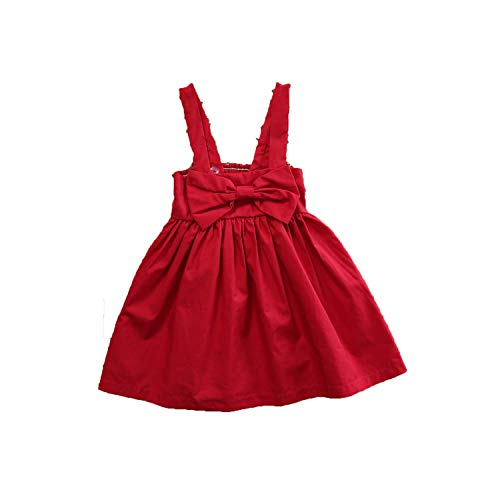 Summer Baby Girls Dress Toddler Kid Summer Sundress Bowknot Mini Bow Dress Outfit Sunsuit Dress 0-18M Red 18M]()