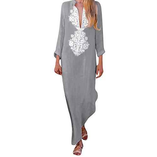 lenglangO Boho Floral Print Split Cotton Maxi Dress Deep V Neck Long Sleeve Casual Dresses (Gray,XXL)