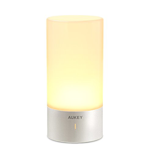 AUKEY Table Lamp, Touch Sensor Bedside Lamps + Dimmable Warm White Light & Color Changing RGB for Bedrooms (Lamp Colored)