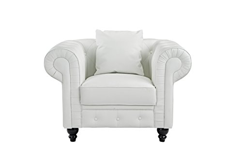 Classic Scroll Arm Tufted Bonded Leather Accent Chair In