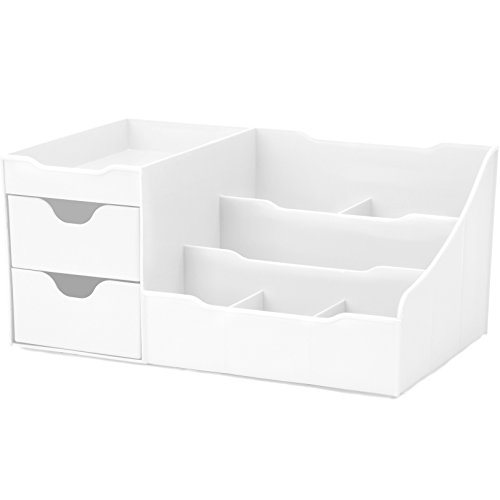 Uncluttered Designs Makeup Organizer with Drawers  White. Bathroom Sink Top Organizers  Amazon com