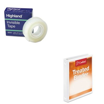 (KITCRD32200MMM6200341296 - Value Kit - Cardinal Antimicrobial ClearVue Binder with Locking Round Rings (CRD32200) and Highland Invisible Permanent Mending Tape (MMM6200341296))