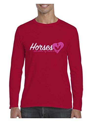 Mom`s Favorite Horseback Riding Horse Lover`s Gift Horses Where My Heart is Men's Softsyle Long Sleeve T-Shirt (2XLCHR) Cherry ()