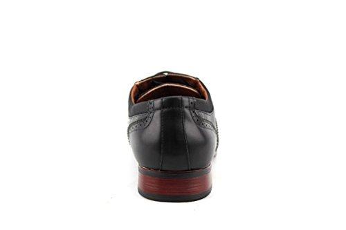 Ferro Aldo Mens 19122AL Perforated Wing Tip Lace Up Dress Oxford Shoes Black 5BIkBiJL