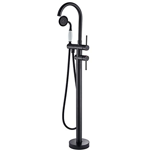 Senlesen Oil Rubbed Bronze Floor Mounted Bathroom Faucet Free Standing Bath Tub Filler Hot Cold Water Taps with Handheld Shower
