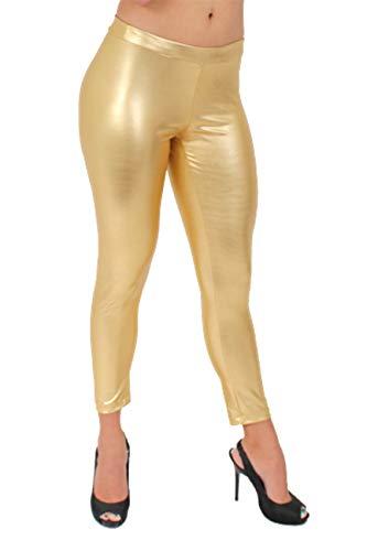 SHORE TRENDZ Womens Juniors Shiny Leggings Metallic Pants.Gold.XL