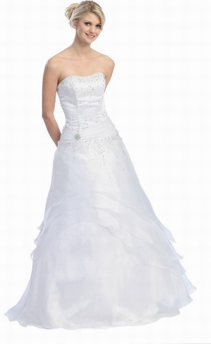 US Fairytailes Ball Gown Strapless Formal Prom Wedding Dress #2581