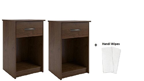Alder Set Bed - Set of 2 Nightstand MDF End Tables Pair Bedroom Table Furniture, (2 Sets + Handi Wipes, Northfield Alder)