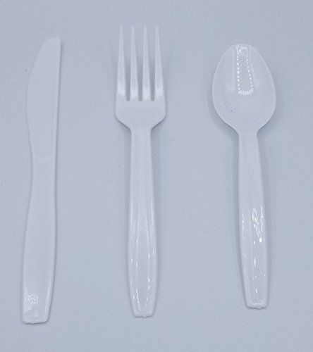 Valueware Disposable Plastic Cutlery - Case of combo packs 576 total count - Spoons, Forks and Knives 192 of (Plastic Cutlery Case)