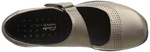 Clarks Women's Wave wünscht Mary Jane Flat Zinn metallisches Leder
