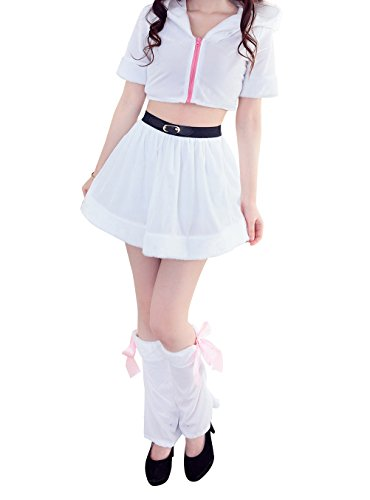 [DH-MS Dress Christmas Bar Nightclub Lead Dance Princess Skirt Split Red Costume(White)] (1940s Cop Costume)