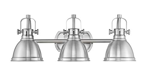 Emliviar 3-Light Bathroom Vanity Light Fixture, Brushed Nickel Finish with Metal Shade, ()