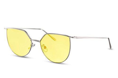 Argenté5 Monture de Cheapass de Lunettes UV400 soleil faite Style chat Femmes de yeux Rondes métal 44pfvwqgRx