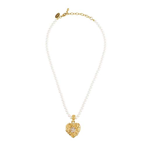 Jay Strongwater Scroll & Flower Heart Pearl Pendant Necklace with Swarovski Crystals 18