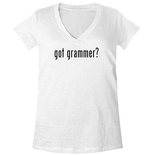 The Town Butler got Grammer? - A Soft & Comfortable Women's V-Neck T-Shirt, White, X-Large