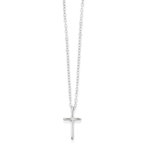 14k White Gold .01ct Diamond Cross Religious Chain Necklace Pendant Charm Latin Crucifix Kid Fine Jewelry For Women Gift Set ()