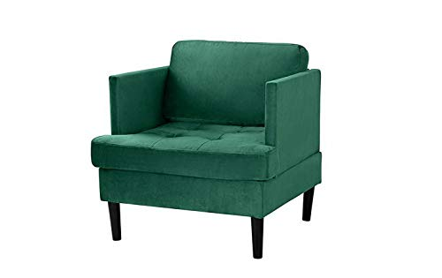 Toned Microfiber Sectional Sofa - Monowi Brush Microfiber Fabric Armchair, Living Room Accent Chair (Green) | Model CCNTCHR - 206
