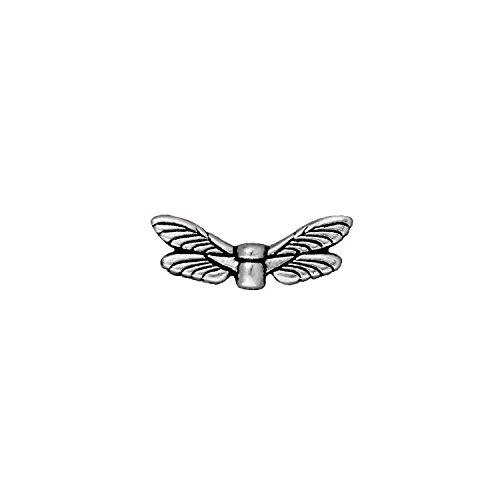 TierraCast Dragonfly Wings, 7x20mm, Antiqued Fine Silver Plate Pewter, 4-Pack