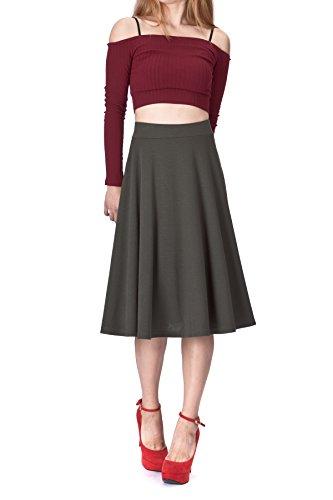 Dani's Choice Beautiful Flowing A-line Flared Swing Midi Skirt (S, Khaki)