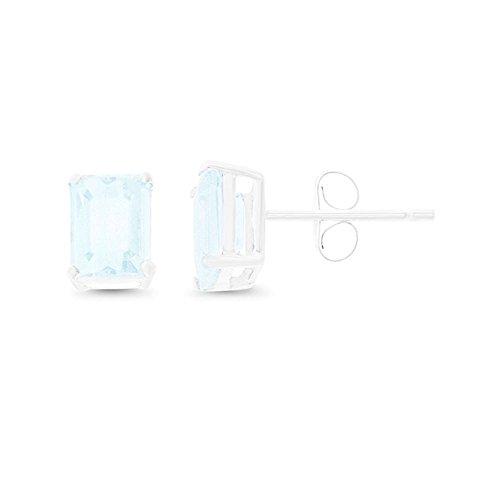 (1.75CTW 14K White Gold Genuine Natural Aquamarine Emerald Cut 5 x 7 mm. Solitaire Stud Earrings)