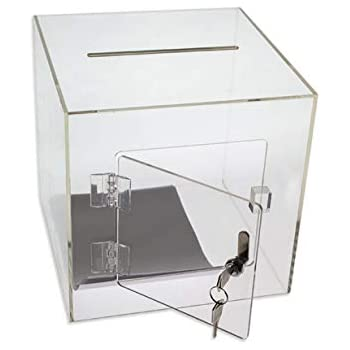 Large SourceOne Deluxe Small /& Large Heart Shaped Acrylic Donation Box Tip Comment Box