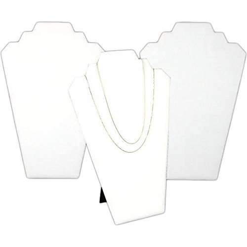 3 White Leather Padded 2 Tier Necklace Pendant Bust Showcase Displays (Tier Easel)