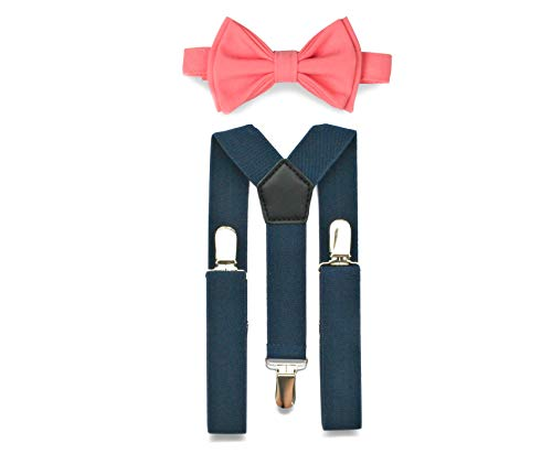 Suspenders Bow Tie Set (2. Toddler (18 mo - 6 yrs), Navy Suspenders, Bright Coral Bow Tie)