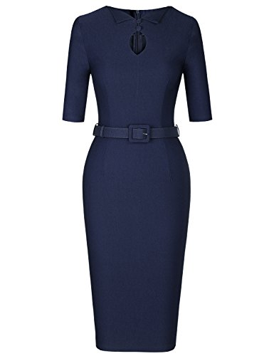 MUXXN Women's Formal Button up Hold Decoration Business Office Pencil Dress (Blue XXL) by MUXXN